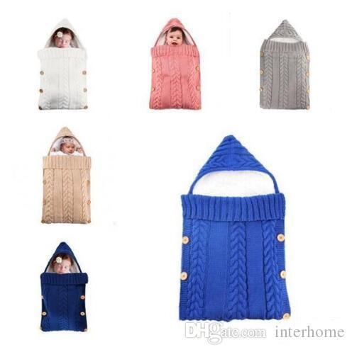 بطانية طفل محبوك الكروشيه زر النوم حقيبة طفل أطفال النوم كيس عربة التفاف شتاء دافئ سميكة غطاء للبنات بنين هدايا LT1585