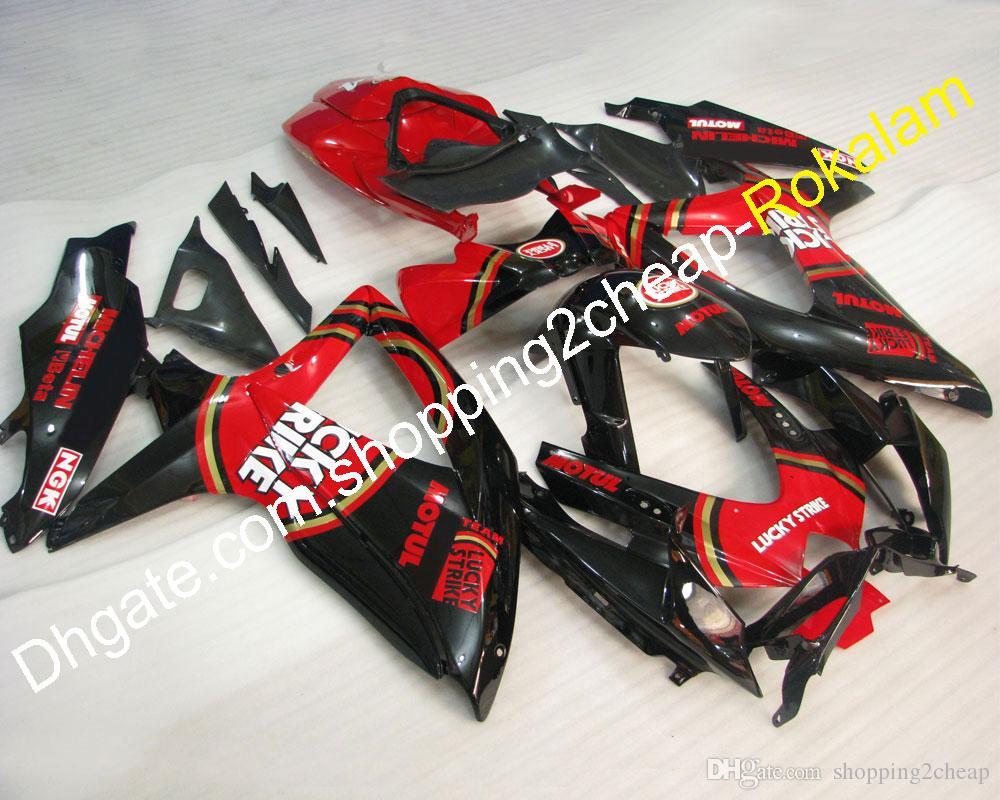 لسوزوكي للدراجات النارية صالح GSXR600-750 K8 2008 2009 2010 GSXR600 GSXR750 08-10 GSX-R600 / 750 LUCKY STRIKE ABS Fairing Kit (حقن صب)