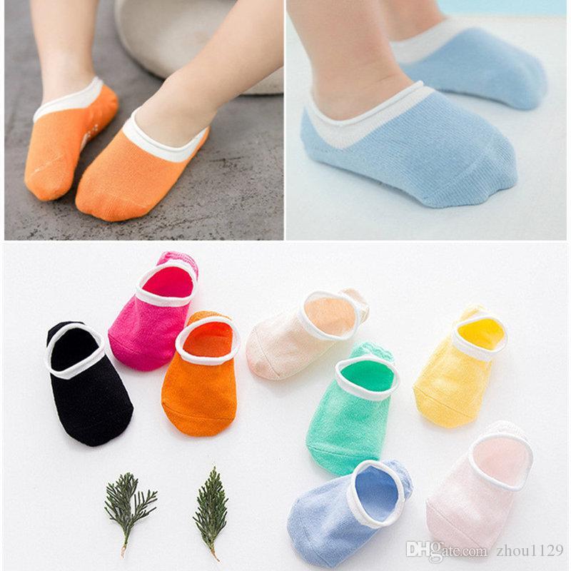 Meias bebê recém-nascido Crianças Andar Meias doce cor Shoes sólidos Anti Slip tornozelo chinelo Socks para novo transporte livre 0-2Y Outono nascido