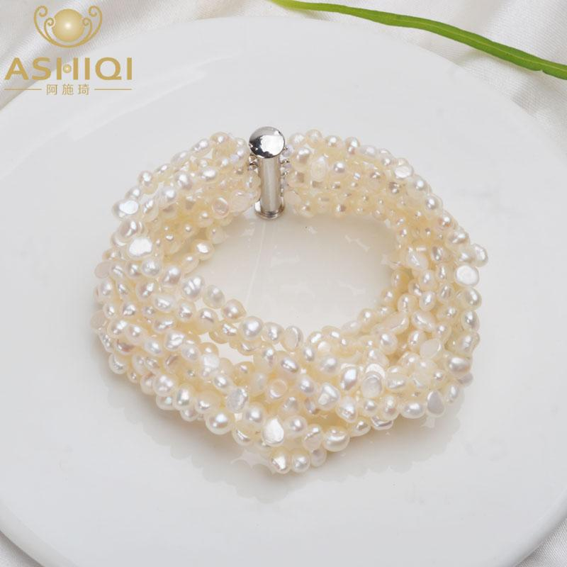 ASHIQI Multilayer Natural Freshwater Pearl Bracelet for women Gorgeous 10 Rows Fine Fashion 4-5mm Pearl Jewelry