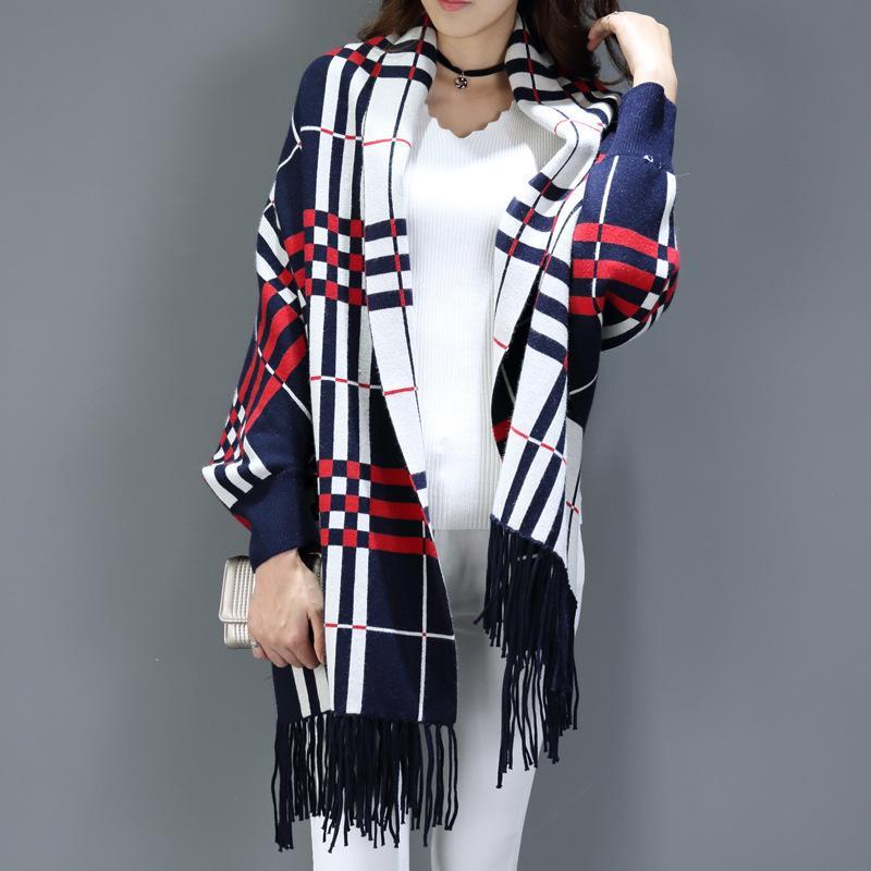 Xi fabricants de sources Yan double face foulards à carreaux de cachemire de longue section de cachemire épais à manches manteau cape maintenant
