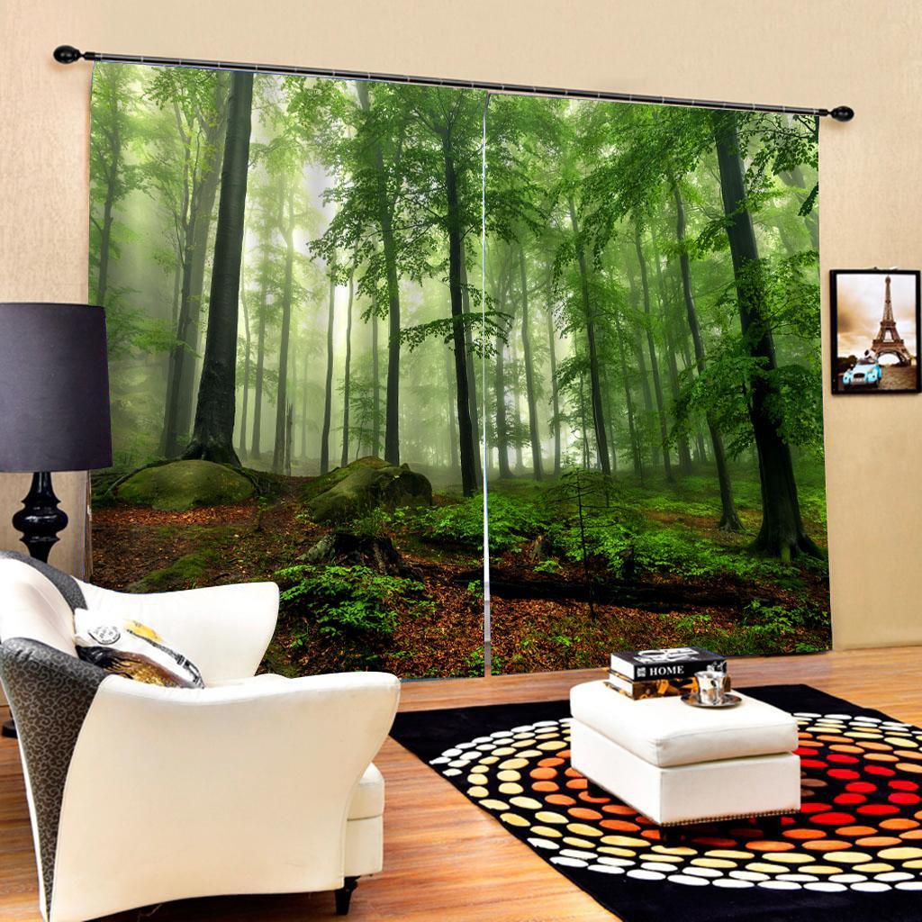 floresta verde personalizado tamanho de luxo 3d cortinas quarto sala à prova de vento cortinas espessamento apagão