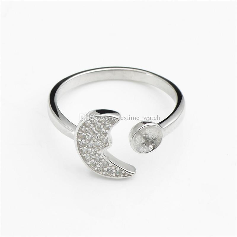HOPEARL Jewelry Ring Settings Moon 925 Sterling Silver Blanks Cubic Zirconia Ring Semi Mounts 3 Pieces