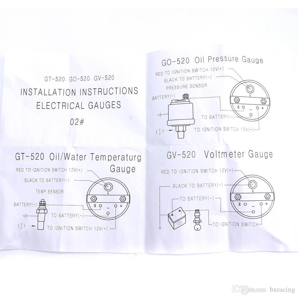 cnspeed 52mm 3 in 1 oil temp gauge water temp oil pressure gauge kit  car meter