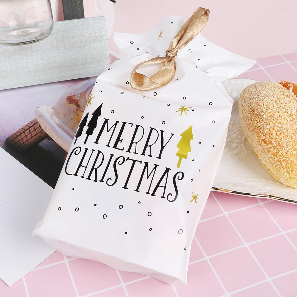 6/12Pcs Merry Christmas Gift Bag Cookie Candy Snowflake Crisp Bag Handmade Soap Drawstring Christmas Party New Year Gifts