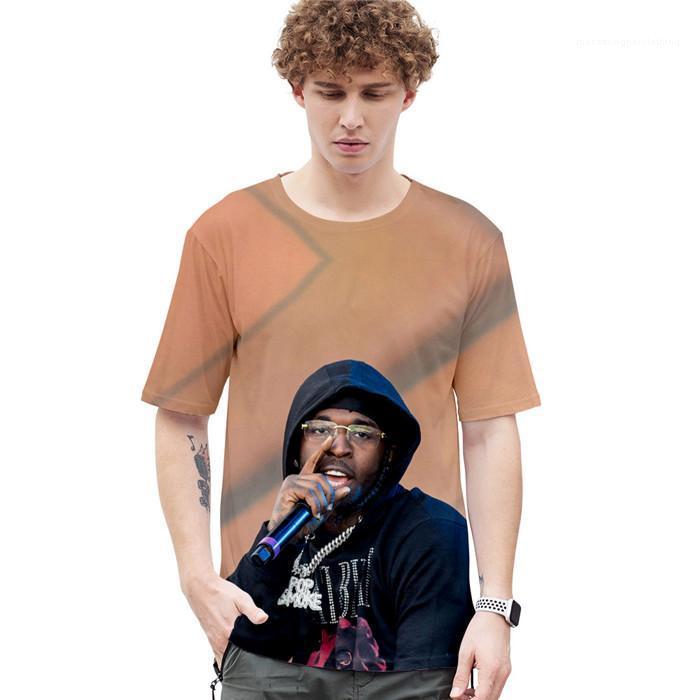 La tripulación del cortocircuito del cuello del estilo de la manera de la manga de la ropa ocasional para hombre del diseñador 3D Pop camisetas American Summer cantante