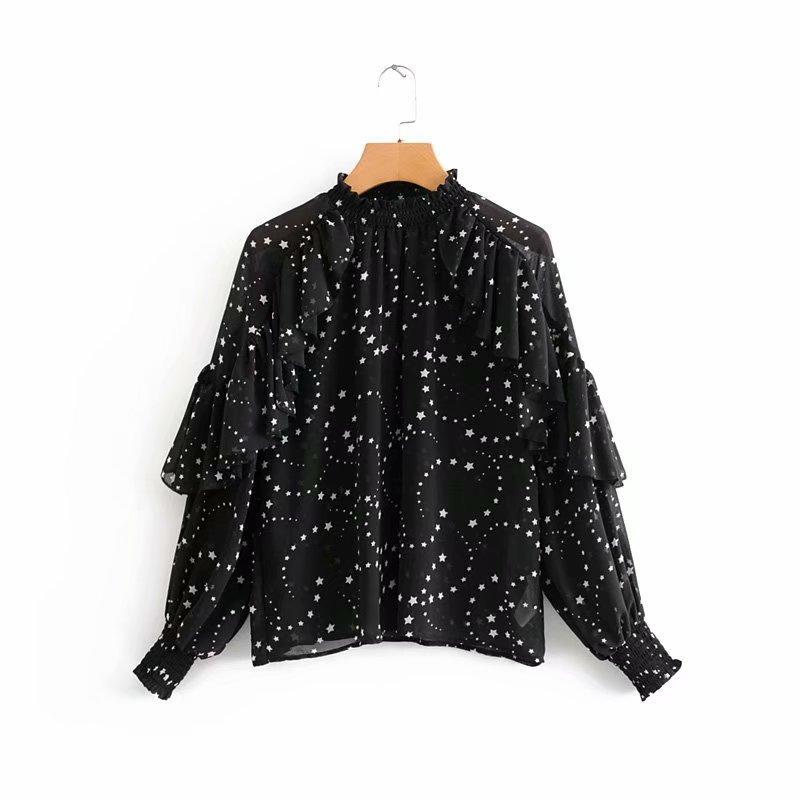 new women stand collar stars print casual chiffon blouse shirts women cascading ruffles sleeve blusas chic chemise tops LS6065