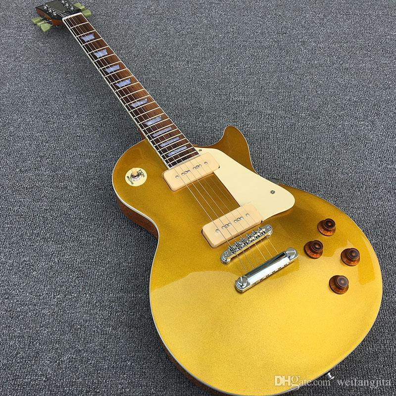 40-Standard Elektrik Gitar, Altın maun Ile katı Maun gövde, Krom Donanım ve p90 Pikap, ücretsiz kargo