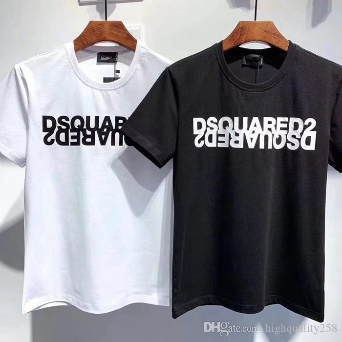 새로운 디자이너 T 셔츠 힙합 남성 T 셔츠 패션 브랜드 남성 여성 짧은 소매 대형 사이즈의 T 셔츠 도매 티 탱크 D2
