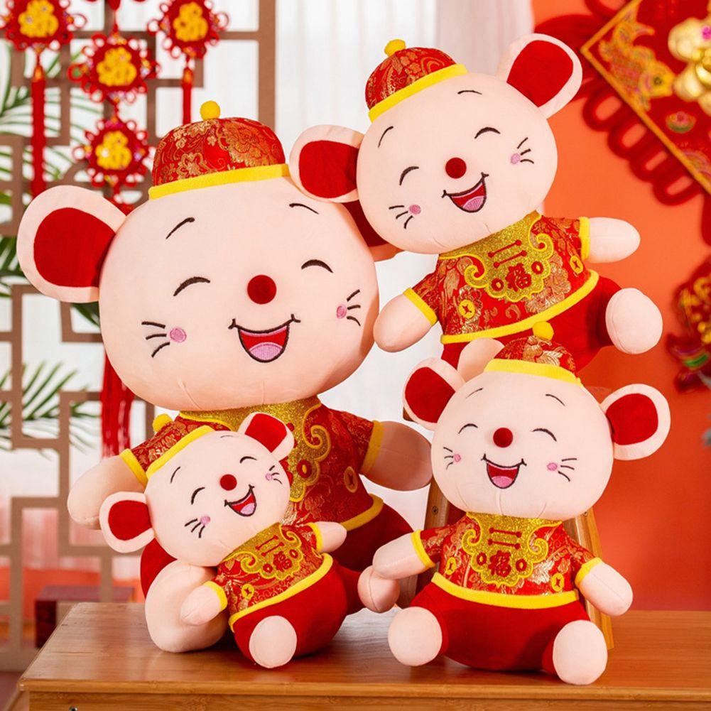 2020 Ano Novo presente A Fat Rat Mascot Plush Toy Red Knot chinês Rato pingente pendurado Presente Deacoration For Kids Zodiac