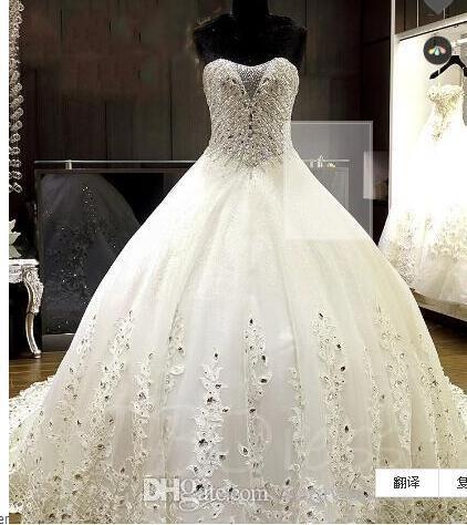 Lussuoso perline di cristallo della cappella di Appliques sfera abito da sposa