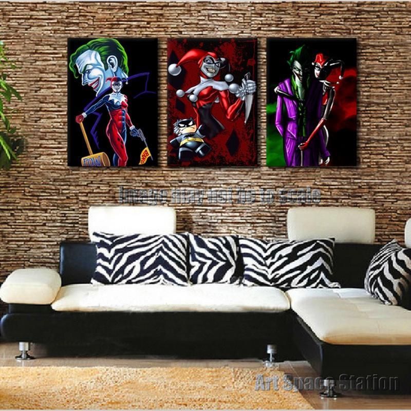 Harley Quinn Batman Joker DC Comics плакат, поп-арт портрет печать на холсте, 3 шт настенные рисунки для домашнего декора
