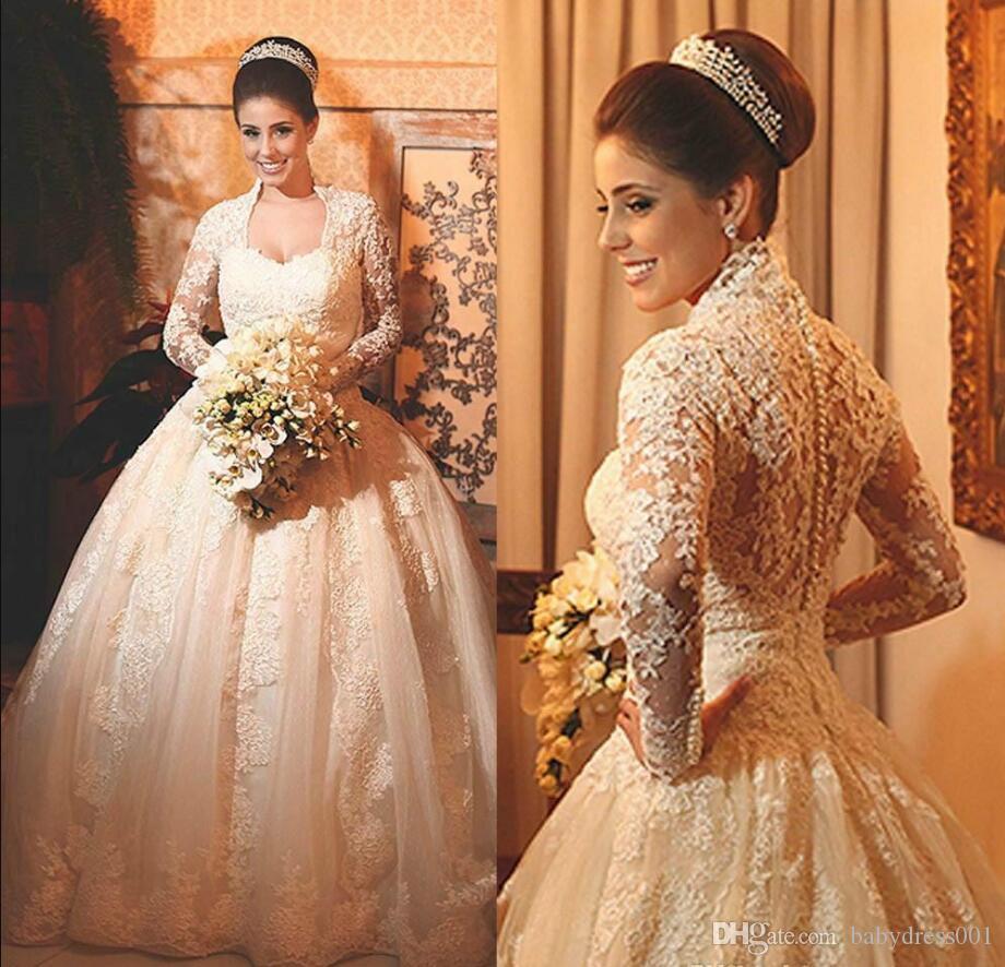 Vintage Long Sleeve Lace Vestidos de casamento de Inverno Arábia Saudita Appliques Plus Size Bola 2018 personalizado Vestido de novia Vestido de Noiva árabe