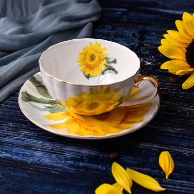 2019 Fine Bone China Tea Coffee Cup Saucer Set Sunflower Pattern Teacup Set Modern Ceramic Coffee Cups Fancy Porcelain Tea Cup Gift