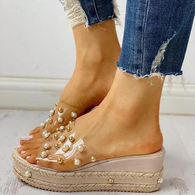 Womens Open Toe pattini impermeabili della piattaforma dei sandali dei pistoni trasparente Piattaforma Rivet paglia corda Zeppe Scarpe Pantofole