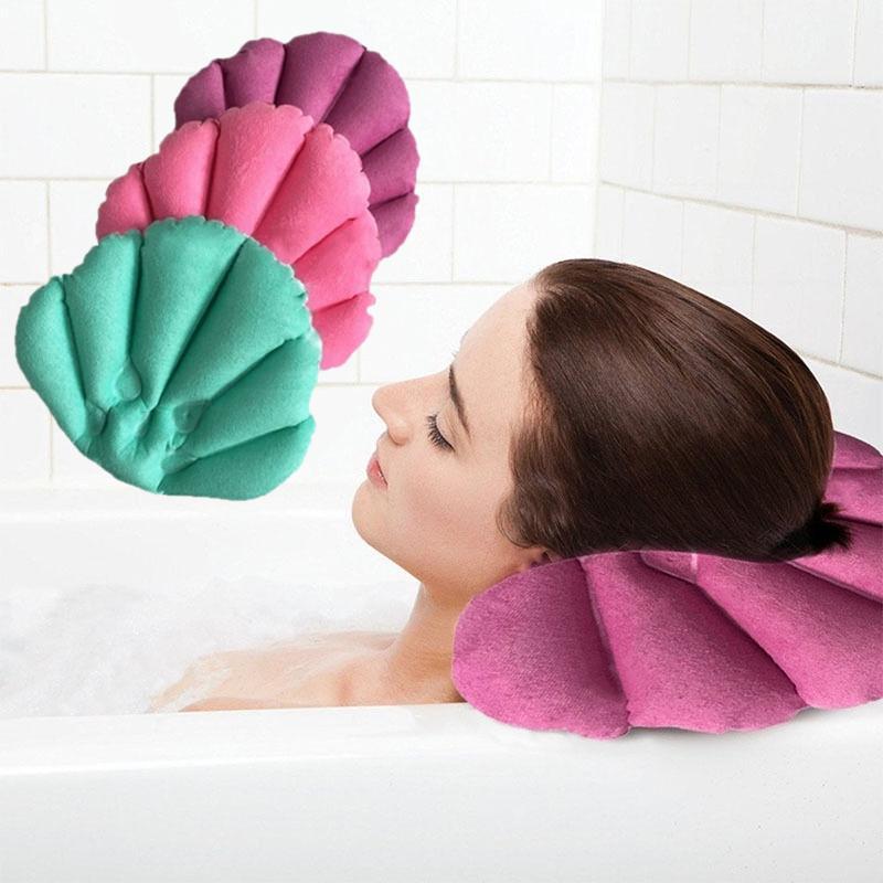 SOLEDI morbido cuscino da bagno casa confortevole Spa gonfiabile da bagno a forma di conchiglia Coppe collo Vasca cuscino accessori per il bagno