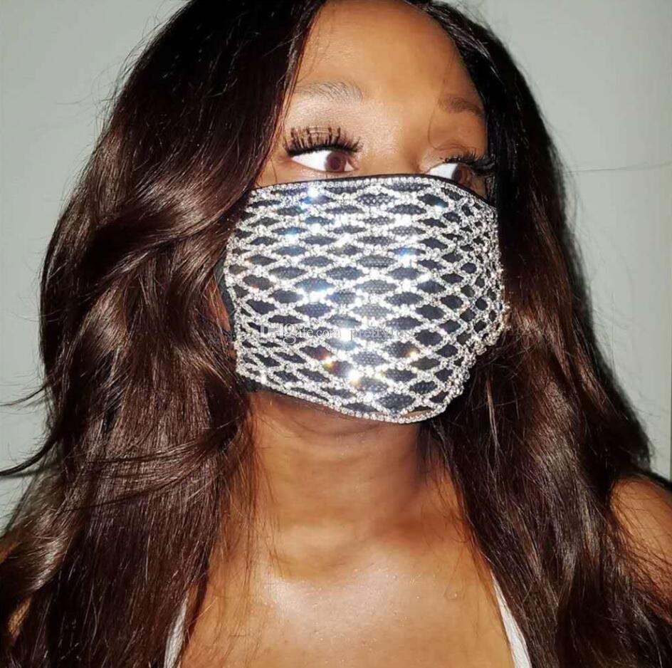 Rhinestone Moda Festa Boca Máscara protectora de cristal Adulto Designer Luxo Bling Bling Máscaras máscara de Halloween Mulheres Jóias