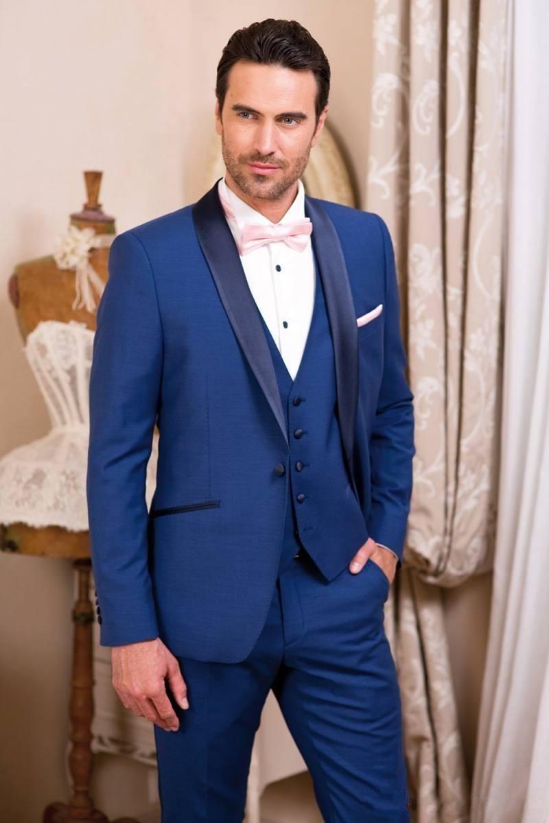 Classique Beau Smokings Bleu Royal Slim Fit Hommes Costumes De Mariage Un Bouton Groom Porter Trois Pièces Costume Formel (Veste + Pantalon + Gilet) HY6015