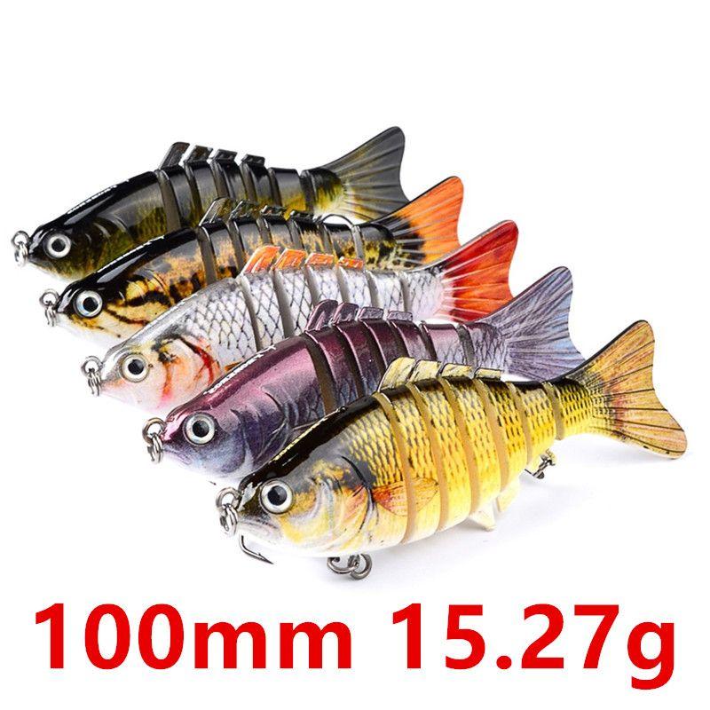 Mixed 5 Color 100mm 15.27g Multi-section Fishing Hooks Fishhooks 6# Hook Hard Baits & Lures b-003