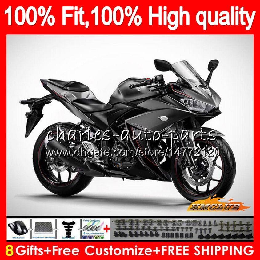 Injection OEM pour Yamaha gris brillant YZF R25 R3 R 3 R 25 YZFR25 corps 75NO.14 YZFR3 YZFR25 YZFR3 14 15 16 17 2014 2015 2016 2017 Carénage