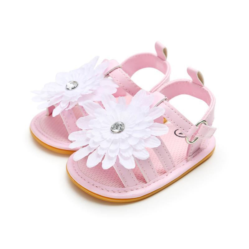 2020 Mode Enfant Bébé doux Sole Chaussures Chaussures enfant en bas âge d'été blanc couleur rose Fleur Princesse nouveau-nés Cadeaux