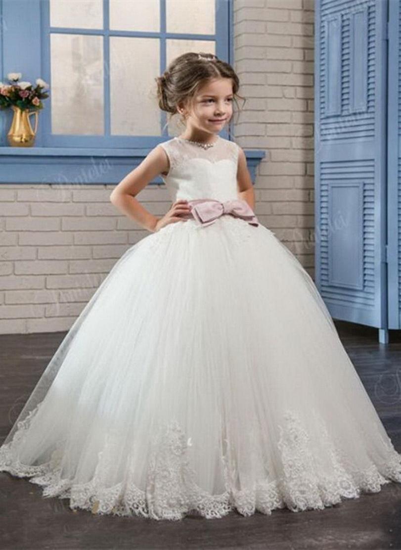 Lace maniche Elegante applique bambini delle ragazze vestito da graduazione Prima Comunione il vestito da spettacolo