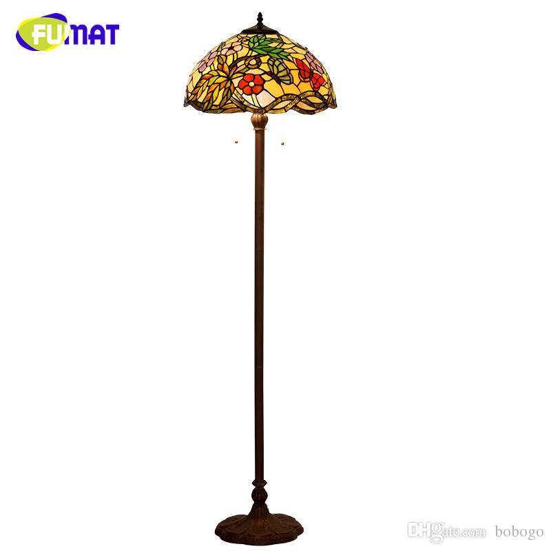 FUMAT Tiffany Lampada da terra in vetro colorato in stile europeo Fiori classici Ombra luce per soggiorno Home Decor luci LED Stand