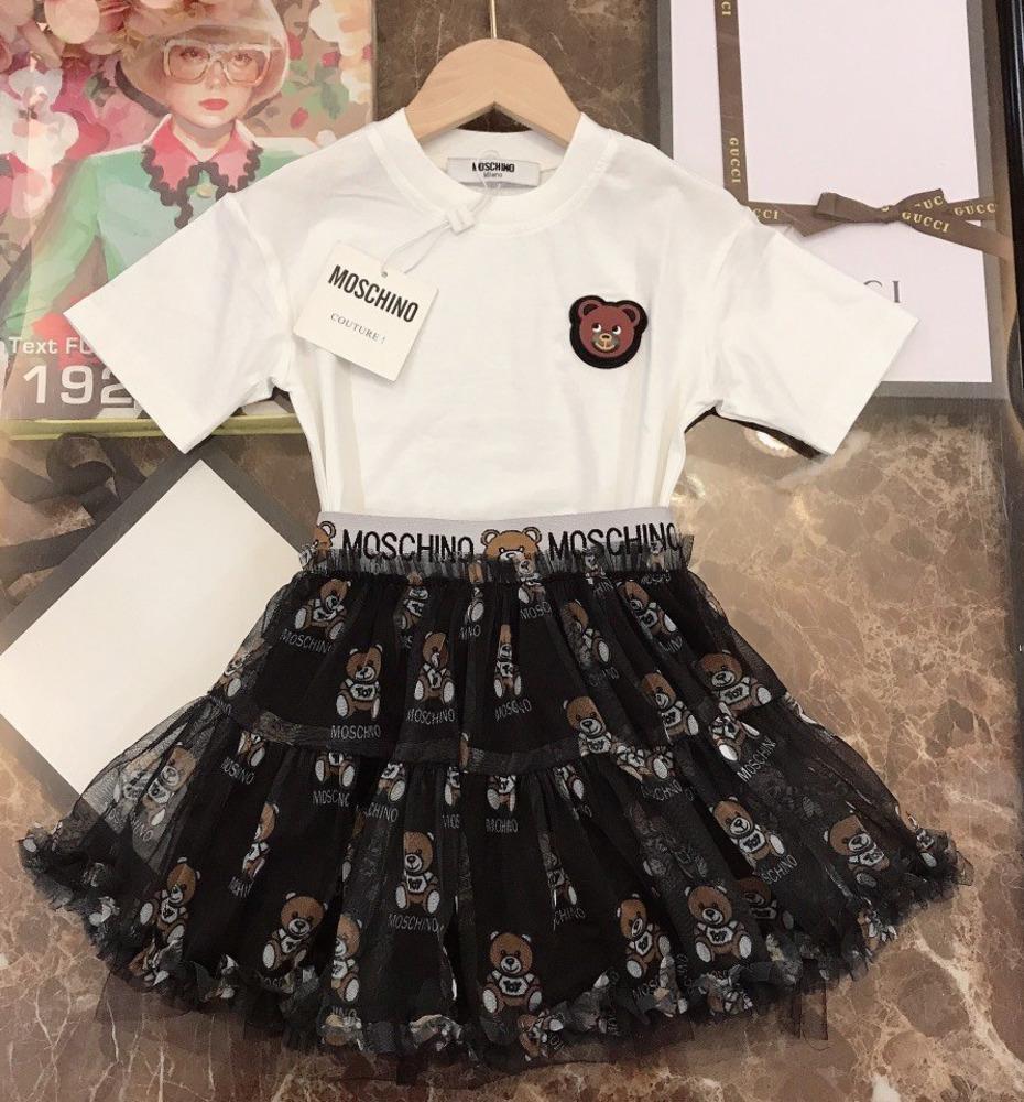 Zweiteilige Outfits Qualitäts beiläufige Art und Weise Buchstabedrucken weichen Kurzarm T-Shirt halb Rock Anzug 030914