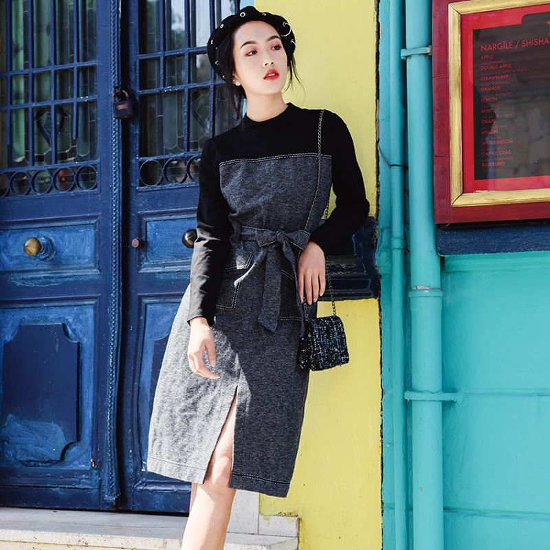 أفضل اللباس سلسلة الجودة # الرسمي لاللون العمل بلوك سبليت السامية الرقبة مكتب OL السيدات الأعمال نيو لوك الخريف الفساتين 1316