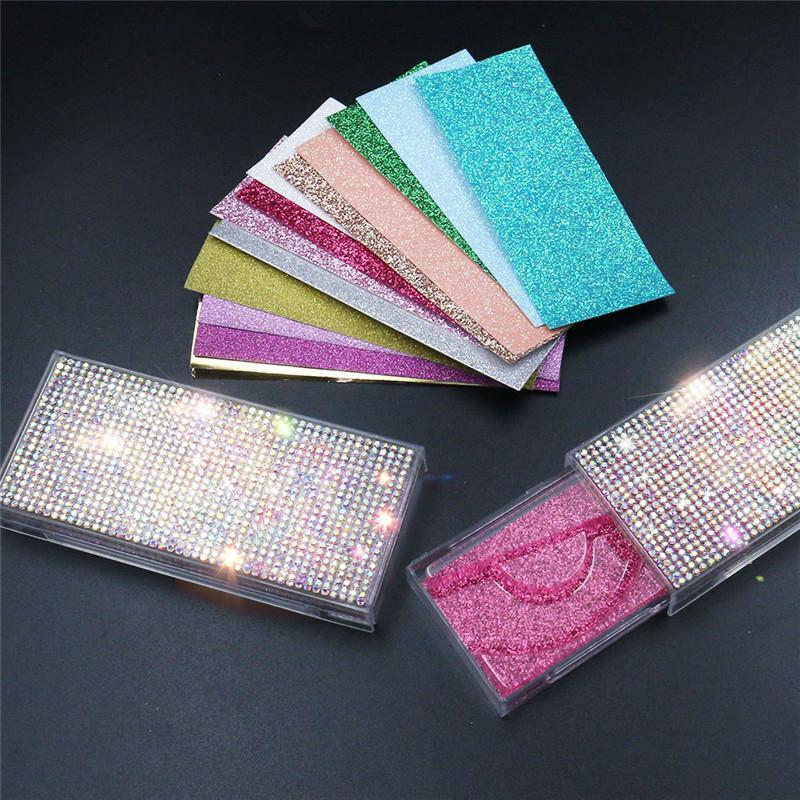 Nouveau rectangle avec des diamants en acrylique Faux Cils Emballage Boîte Mink Lashes Boîtes Faux Cils Transparent boîte en plastique avec plateau