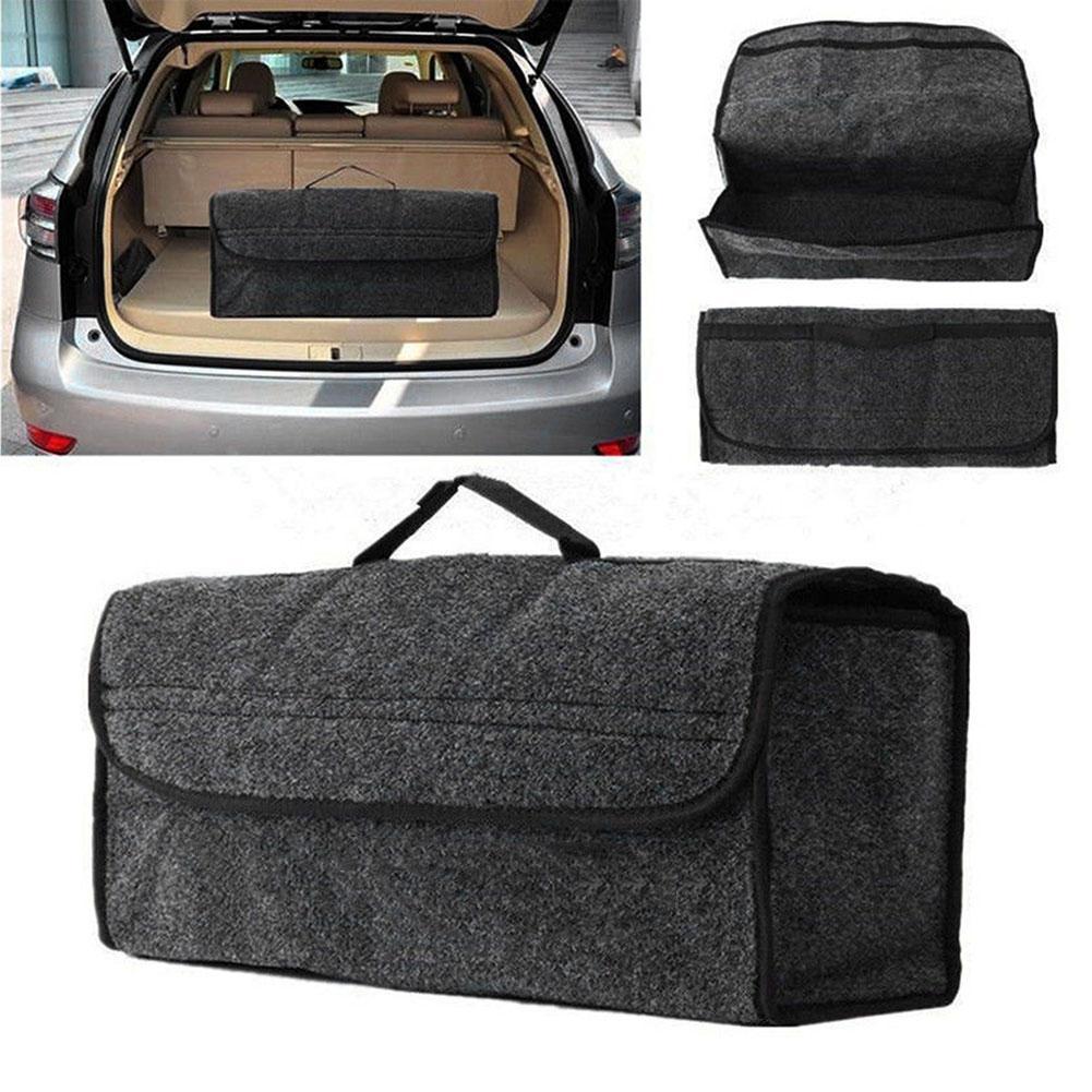 Plegable portátil de coches bolsa de almacenamiento de fieltro de tela plegable del tronco Organizador SUV Auto interior el poner en orden contenedores Bolsas Box C66