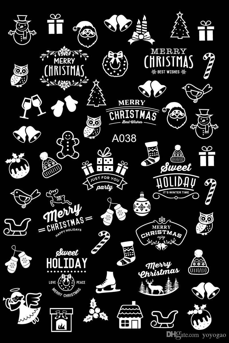 Merry Christmas Images Black And White.Wholesale Newest 20 Sheets Merry Christmas Nail Art Stickers Black White Gold Tree Hats Snow Bell Series Nail Decals Diy Design Nail Stamp Nail Stamps