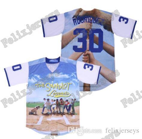 The Sandlot Benny 30 The Jet Rodriguez 5 Michael Squints 11 Alan Yeah-Yeah 23 Bel Air 3D Print Fashion Baseball Jersey
