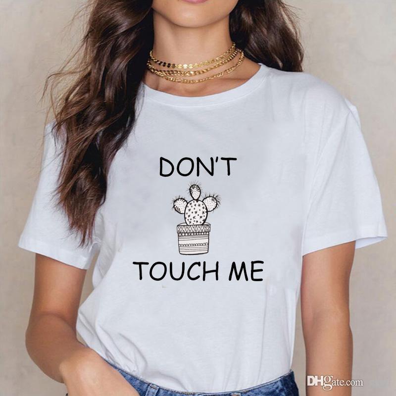 Yeni moda mektubu DOKUNMAYIN ME Kaktüs T-shirt kadın en çok satan mektup desen baskı T-shirt kısa kollu gömlek büyük si