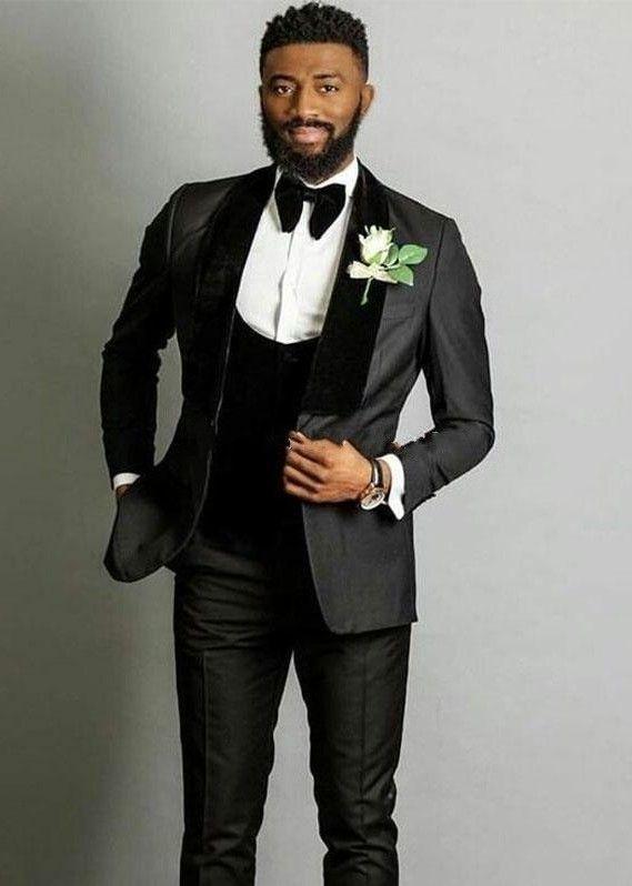 Juegos de la manera gris novio esmoquin de terciopelo mantón de la solapa del novio Slim Fit Blazer Hombres juegos formales vestidos de baile (Jacket + Pants + Tie + Vest) 789