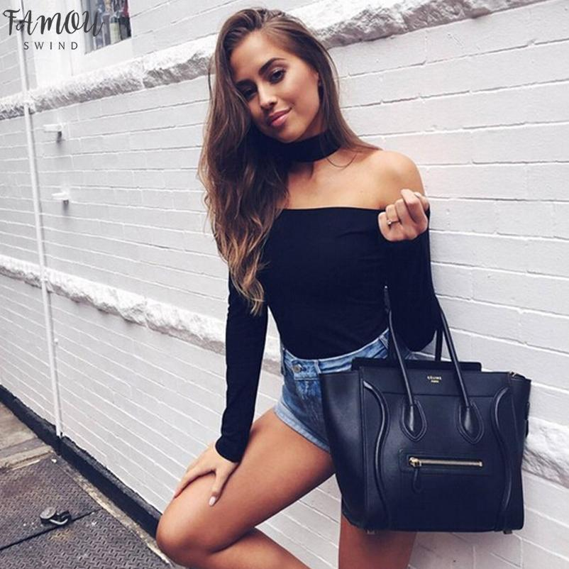 High Street Sexy Women Long Sleeve Solid With Chocker Off Shoulder Jumpsuit Body Suit Stretch Bodycon Top Lantern Sleeve Blouse Summer