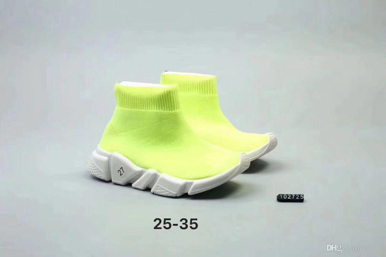 2019 box top 소년 소녀 고급 양말 파리 키즈 신발 속도 달리기 신발 어린이 Babys 여름 캐주얼 운동 스포츠 스니커즈 크기 25-35