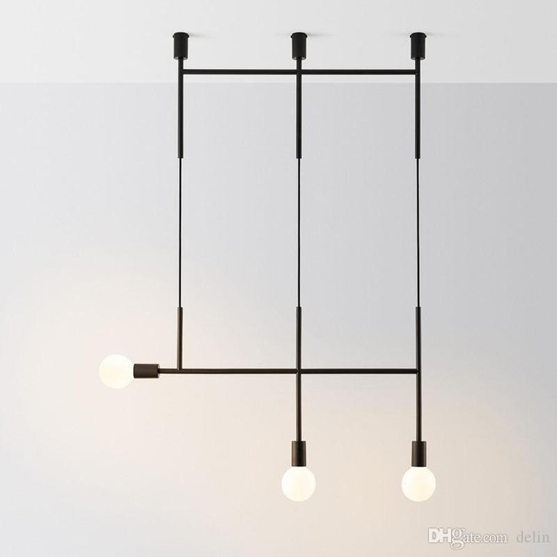 Lampada a sospensione Nordic creativo design Lampadario tubo nero lungo Rose Gold Chandelier Cafe Restaurant Bar lampadario sputnik