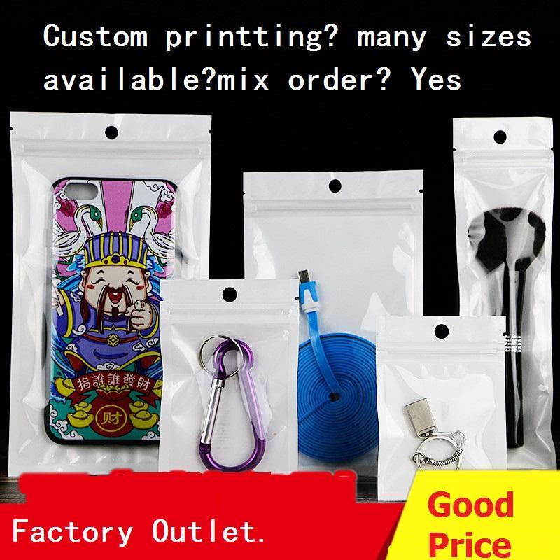 Bolsas Clear White Zipper Resealable plástico com pendurado buraco Phone Case Zip Package Auto Seal Bolsas Shell eletrônico Embalagem
