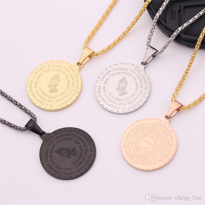 Bible Verse Colliers de prière pour les hommes des femmes en alliage La prière mains Collier Monnaie Médaille Bijoux Pendentif cadeau Christian