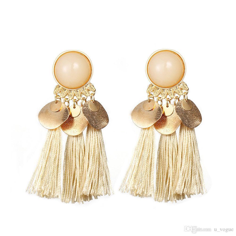 Pendientes de Bohemia de las mujeres cuelgan los pendientes de gota de resina redonda del verano de la borla de las mujeres de joyería de moda Pendientes Pendientes