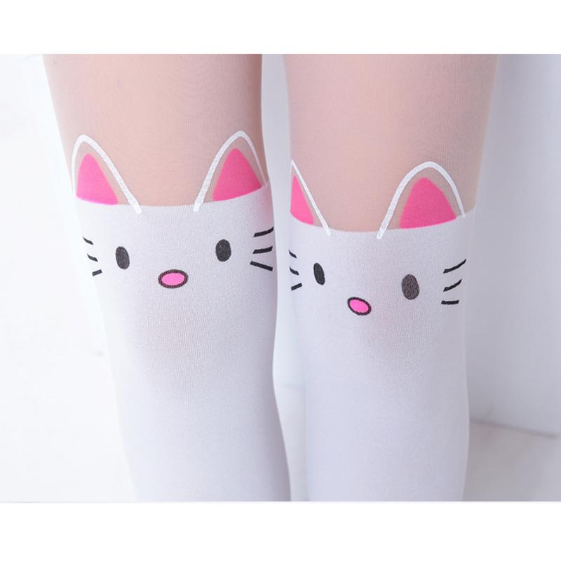 Summer Children's Baby Kids Girls Thin Tights Pantyhose Knee Fake Tattoo Velvet Stocking white Cartoon Kitty Cat 3-9Y new 2017