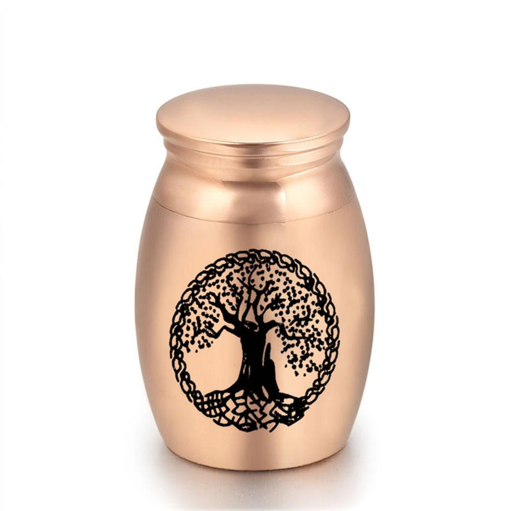 Metal Aluminum Funeral Urns for Pet Dogs Cats Ashes Tree of Life Keepsake Miniature Burial Funeral Urns 16x25mm