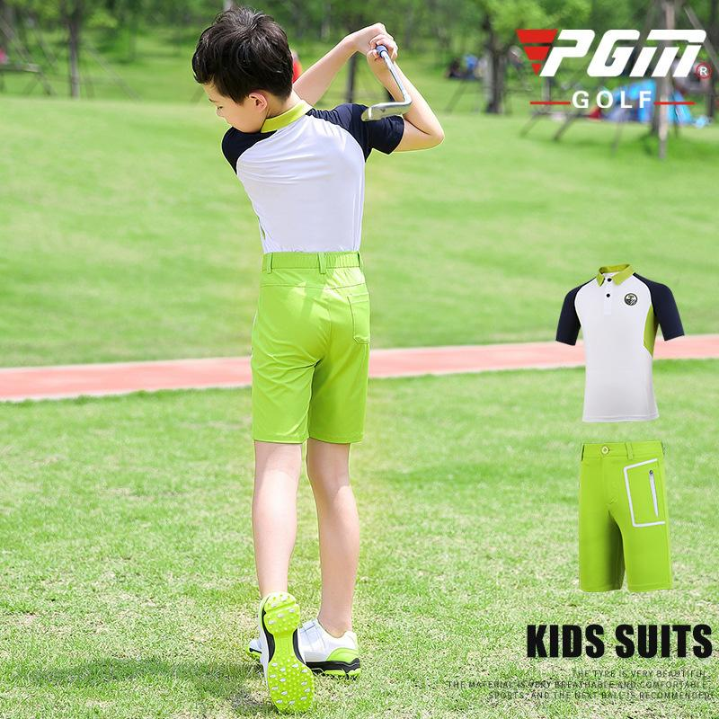 Pgm Garçons respirante Vêtements Ensembles d'été pour enfants manches courtes T-shirt Fermeture à glissière Shorts Pocket séchage rapide Sport Golf Wear D0784