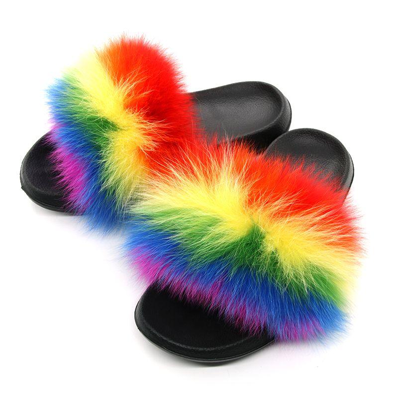 Women Fur Slippers Fox Fur Slides Fox Hair Flip Flops Fluffy Flat Furry Woman Fur Sandals House Slippers 2019 Brand Luxury Shoes T190708