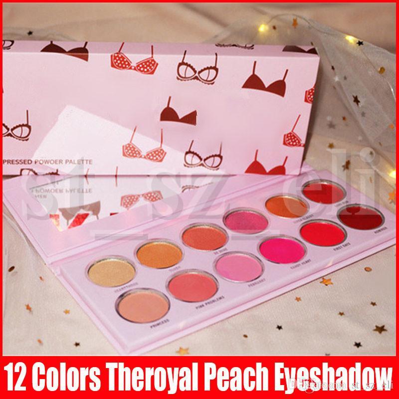 Nieuwe Oogmake-up Valentijnsdag 12 kleuren Theryal Peach Oogschaduw Palet Matte Shimmer Bikini Printing Valentine Eye Shadows Paltes