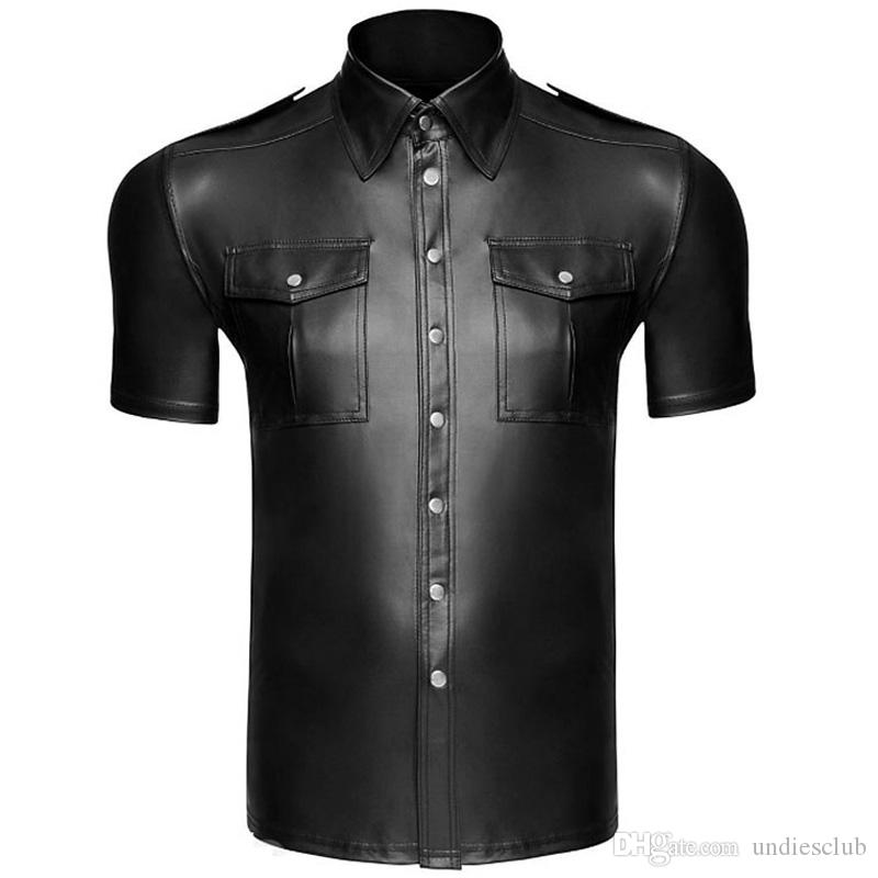 Fitness Men Faux leather Shirts PU Leather T Shirts Double Pocket Men Sexy Tops Gay Latex Tees Mens stage Tops Stage Clubwear