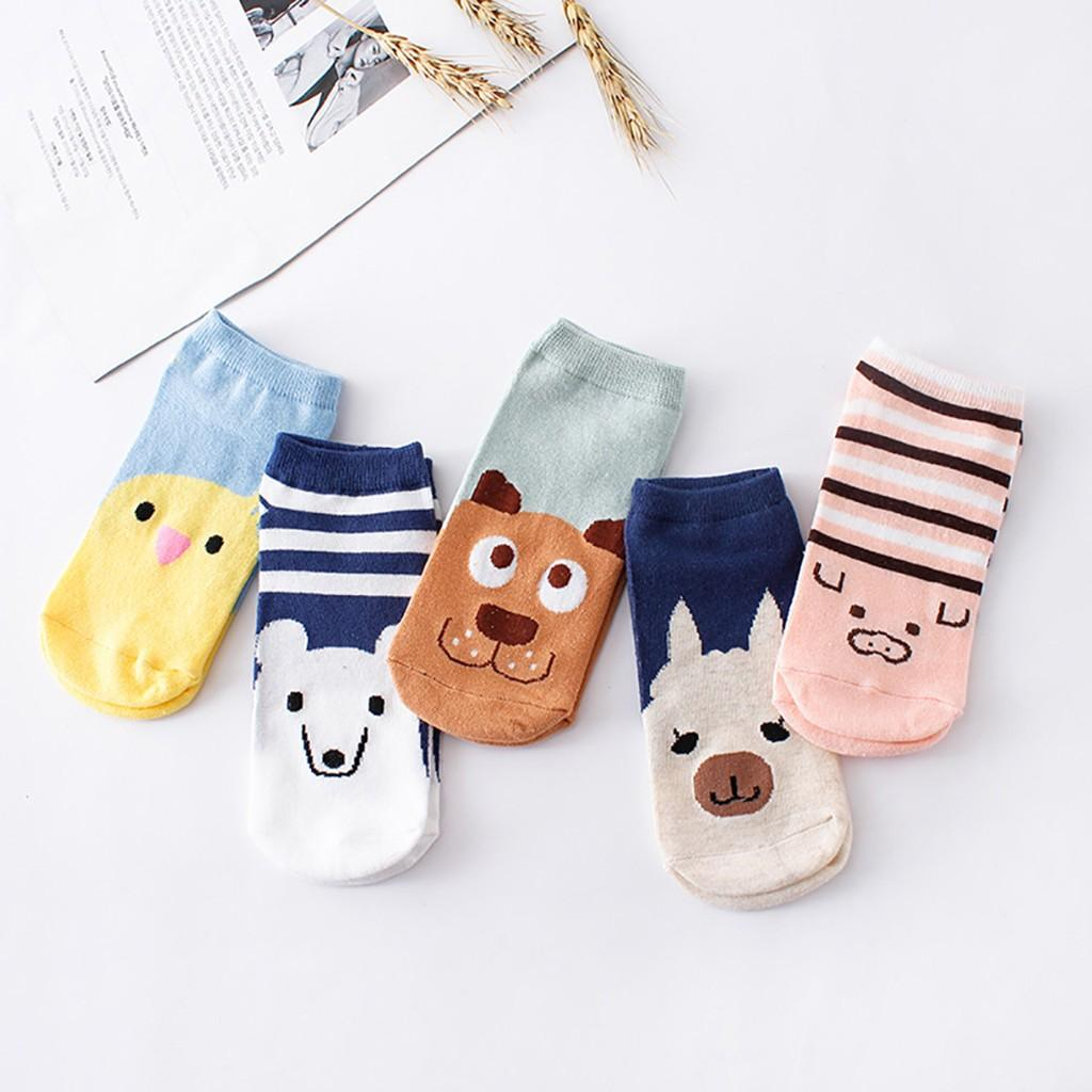 5 Pairs Multicolor Bow Female Fashion Ins Style Print Anklets Slippers comfortable Casual Gift Ankle Sock Store vaatteet