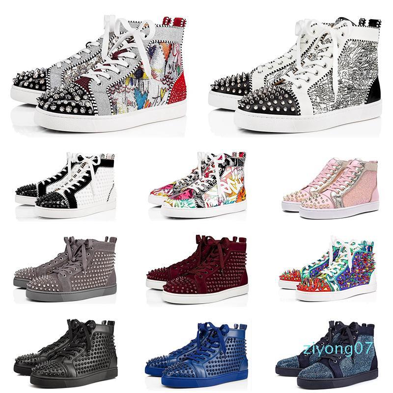 2020 zapatos de diseño de zapatillas de deporte pico mujeres de los hombres de moda de cuero para hombre triples negros blancos de gamuza roja trainer fondos planos Z07 zapatos de lujo