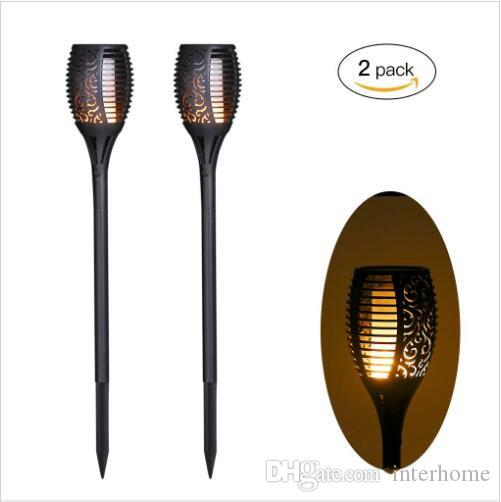 LED Solar Flame Мерцание светильник лужайки свет факела 72 СИД Танцы пламени Свет Водонепроницаемые сада Путь Пейзаж Украшение Лампы B584